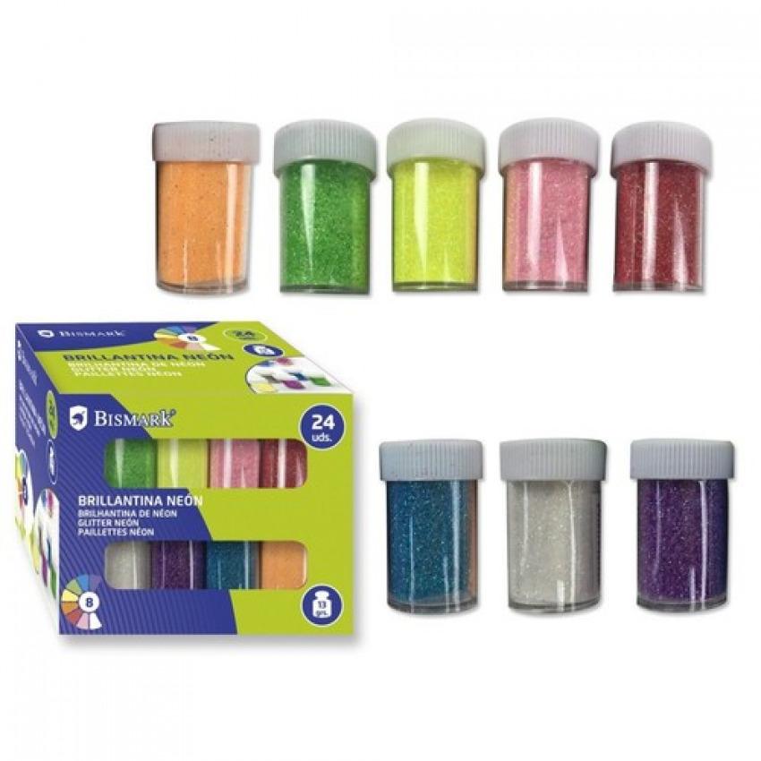 Exp 24 Bote Brillantina Neon 13 Gr Colores Surtidos Binario