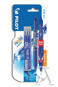 Blister 2 boligrafos y 3 recambios frixion clicker ball 0,7mm azul