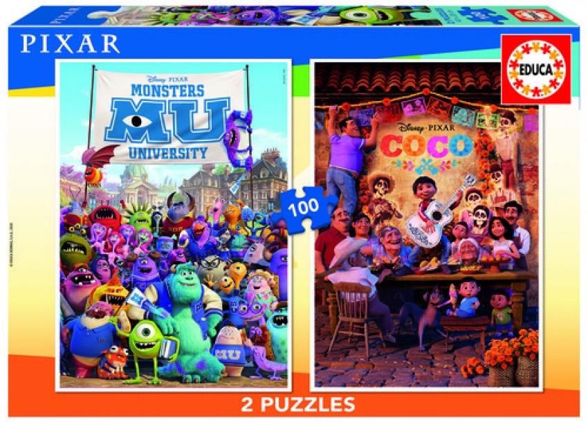 PIXAR COCO + MONSTERS UNIVERSITY PUZZLE 2X100 PIEZAS