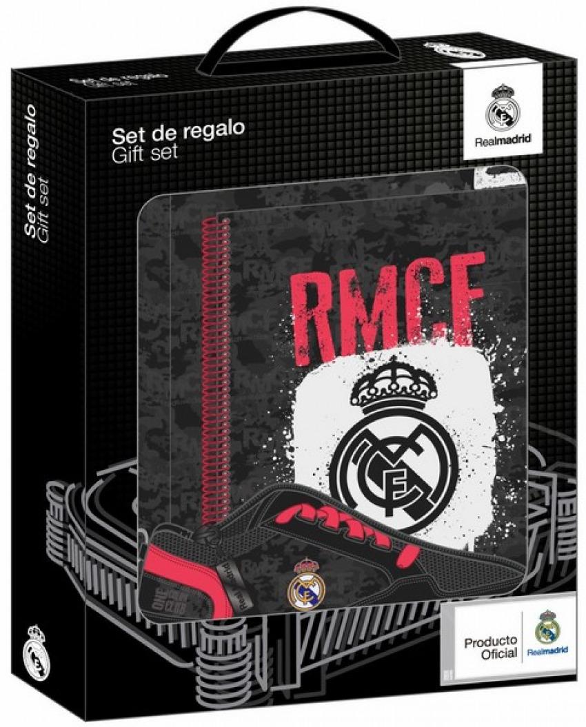 SET DE REGALO PEQUEÑO REAL MADRID BLACK 28x35x6cm - Librería Canseco 201ab31a724