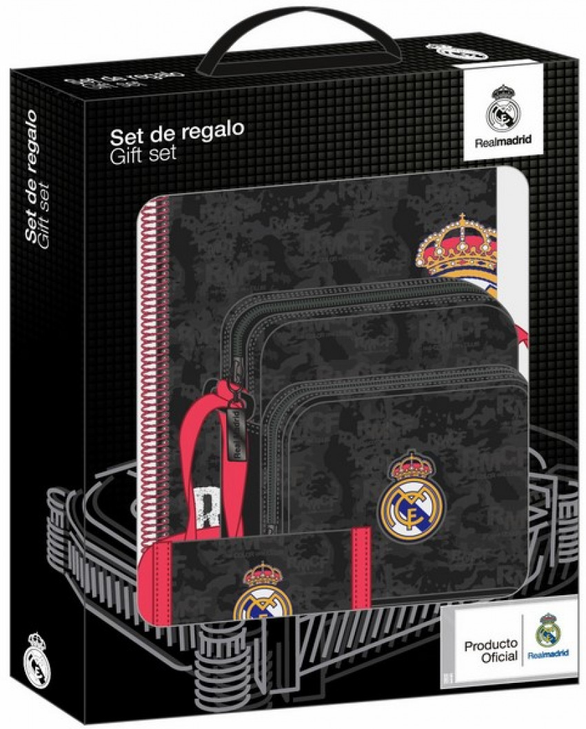 SET DE REGALO PEQUEÑO REAL MADRID BLACK 28x35x6cm - Libreria Miranda ... c67c3c8d377