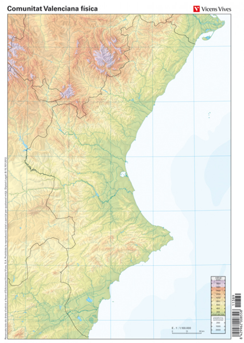 Mapa Fisico Comunitat Valenciana.Paq 50 Mapas Comunidad Valenciana Fisico Mudos En Color Mapa En Hojas Plano Vv Aa Imosver
