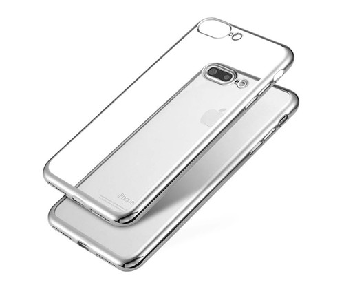 JC CARCASA TRANSPARENTE CON BORDE PLATA APPLE IPHONE 7/8 PL
