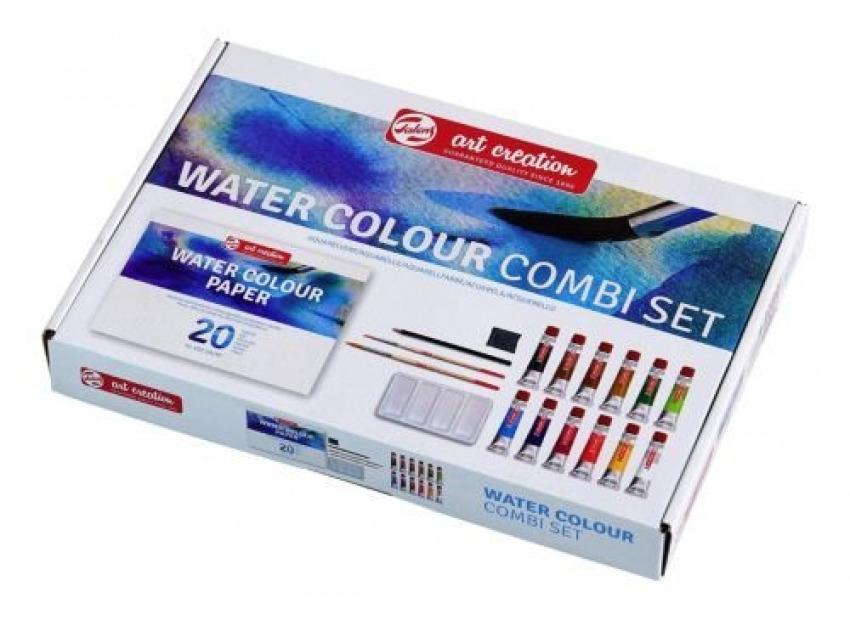 Combi set 12 tubos acuarela 20ml + bloc a4, pinceles, recipiente para mezclas, lapiz y goma