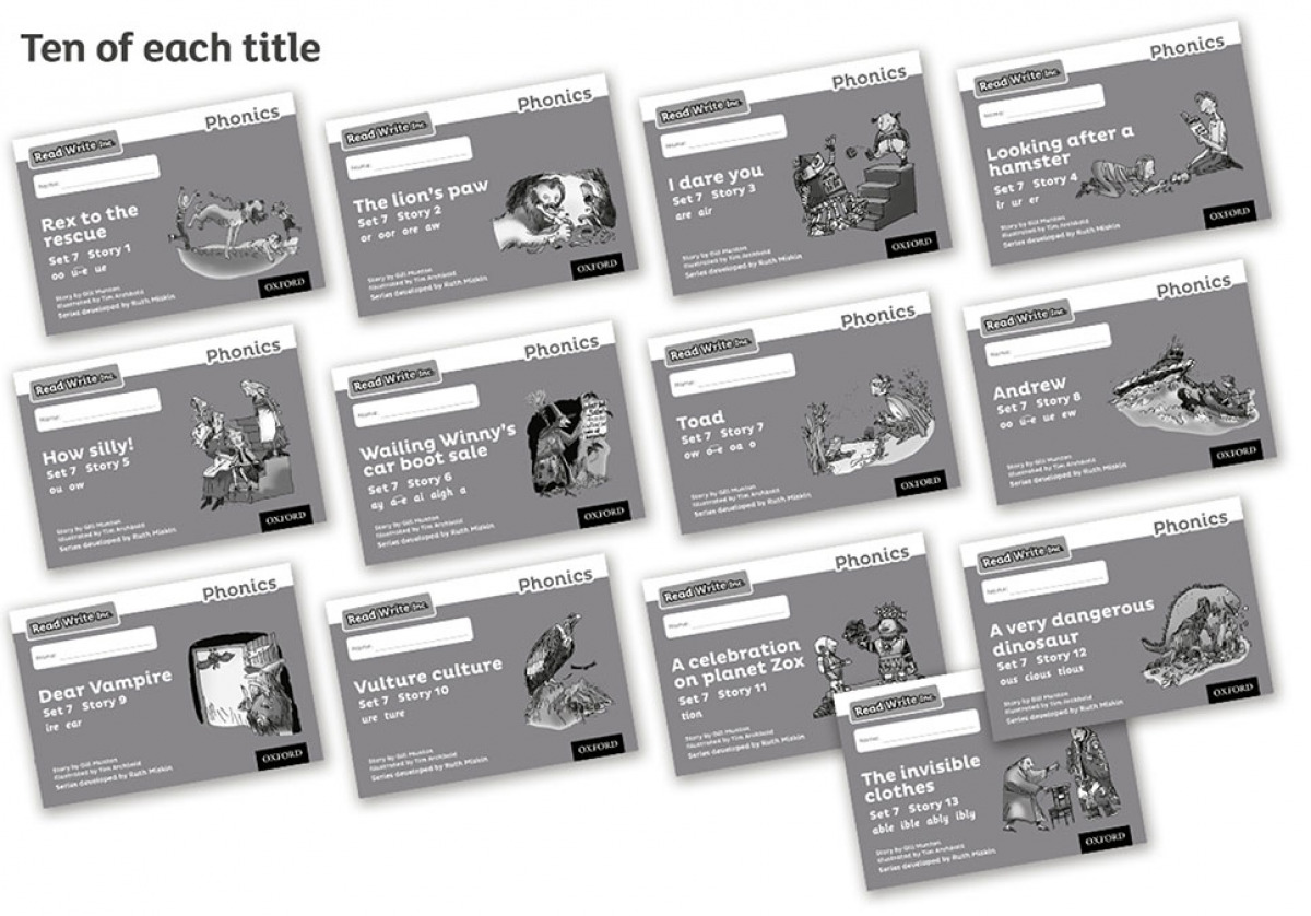 Read Write Inc - Phonics Set 7 Grey Story Books - Black and White Pack of 130