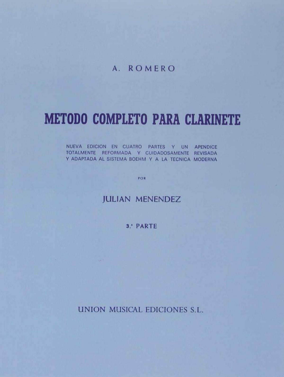 METODO COMPLETO PARA CLARINETE 3ºº PARTE JULIAN MENENDEZ