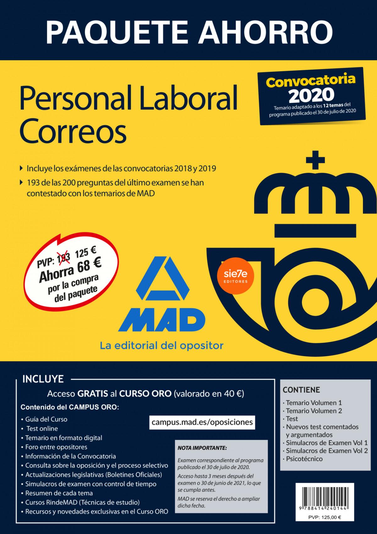 Paquete Ahorro Personal Laboral Correos 2020. Ahorra 68 ? (incluye Temarios 1 y 2; Test; Nuevos test comentados y argumentados; Simulacros de Examen 1