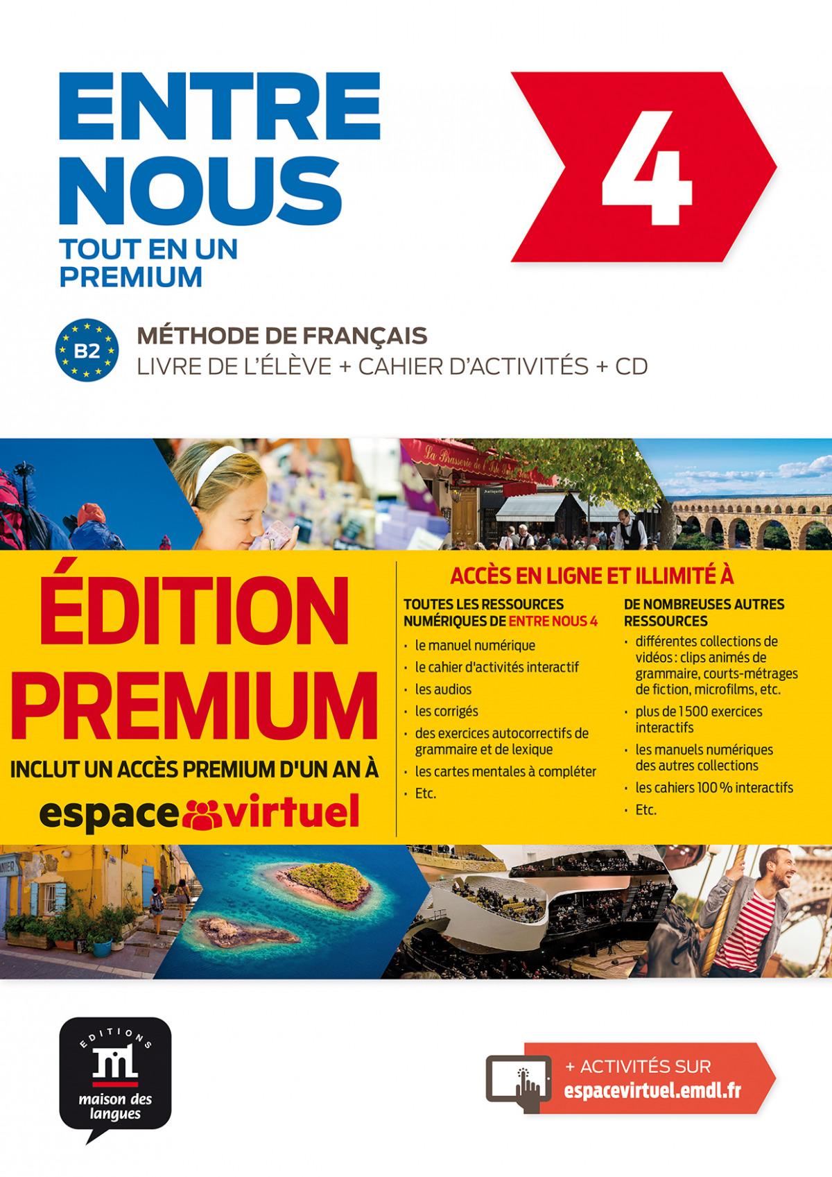 Entre nous Tot en un 4 Premium Livre de lélève + Cahier + CD