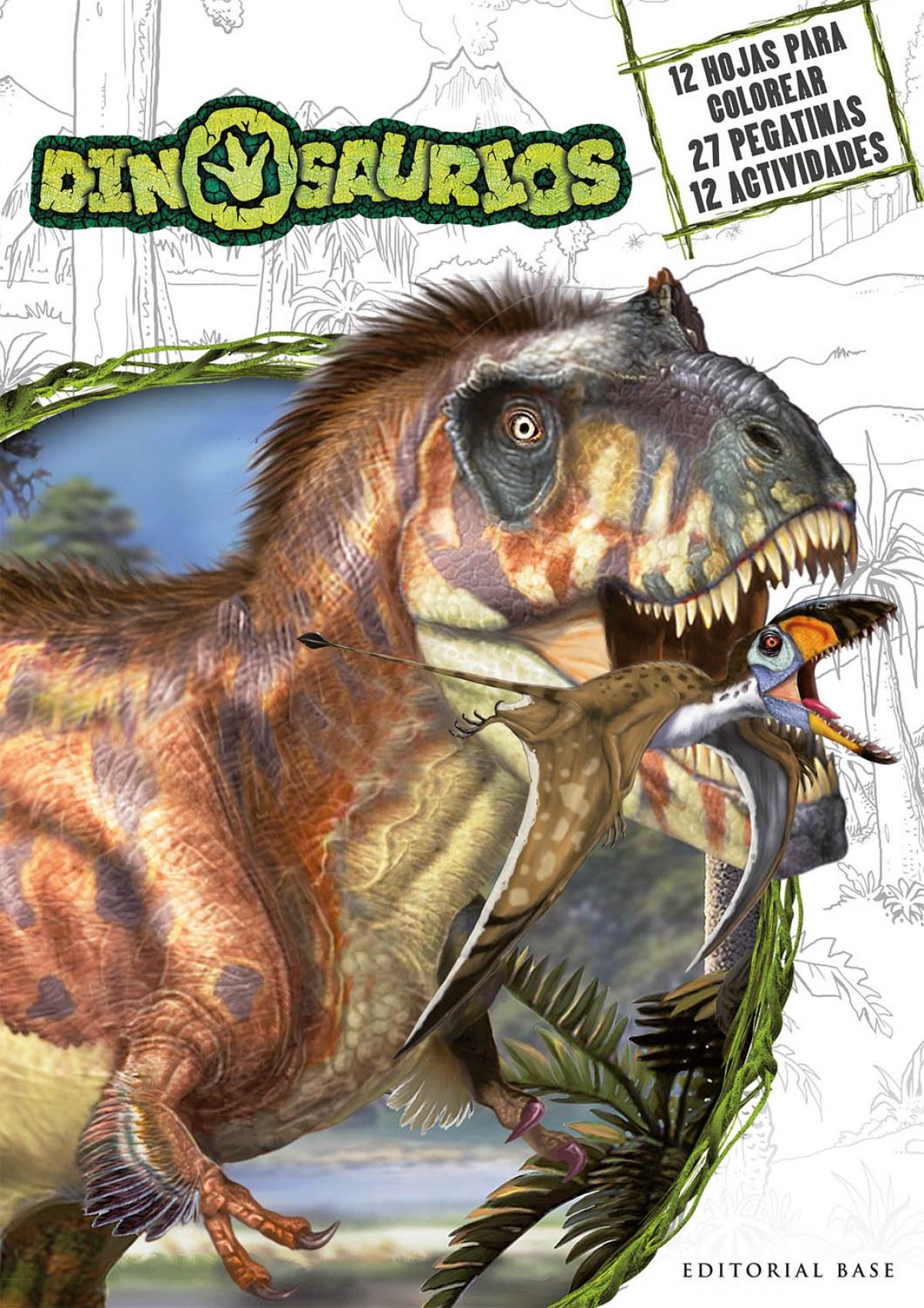 Dinosaurios - Actividades para colorear con pegatinas