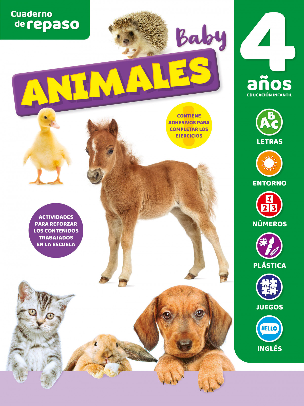 CUADERNO DE REPASO TEMÁTICO LUMINISCENTE 4 AÑOS ANIMALES BABY