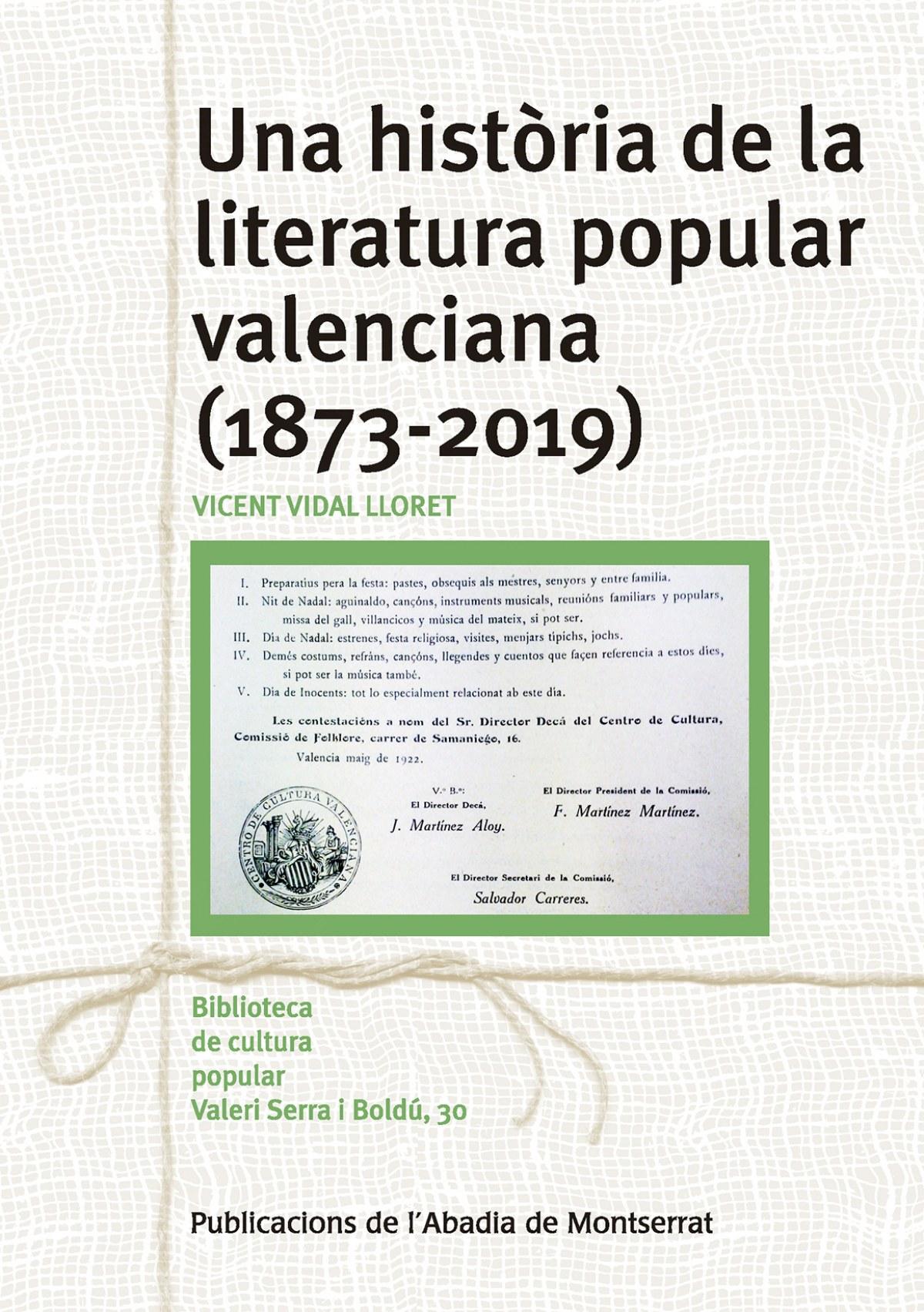 UNA HISTORIA DE LA LITERATURA POPULAR VALENCIANA (