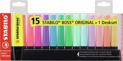 Set de mesa 15 marcadores stabilo boss 9 fluor clasico y 6 pastel