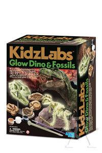 Glow dino & fossils. Dinosaurio y fosiles