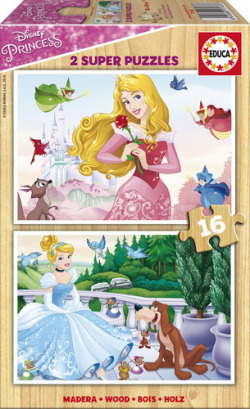 Princesas Disney 2 puzzles 16 piezas