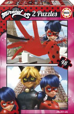 Ladybug the Miraculous 2 puzzles 48 piezas