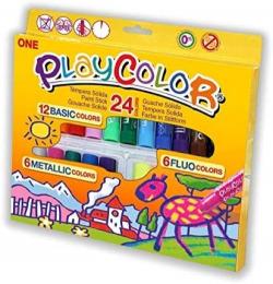 Estuche 24 playcolor one 10g 12 basic + 6 metallic + 6 fluo colores surtidos