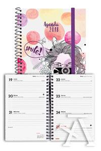 Agenda anual e5 2018 design collection smile semana vista 117x181mm