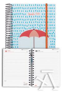 Agenda anual e10 2018 design collection paraguas dia pagina 117x181mm