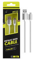 Cable de Datos Metalico Micro Usb AS 113 1M Plata ONE PLUS