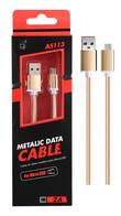 Cable Datos Metalico Micro USB 1M AS113 Dorado ONE PLUS