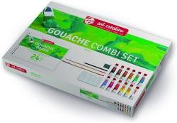 Combi set 12 tubos gouache 12ml. con bloc dibujo a4, pinceles, paleta para mezclar, lapiz y goma