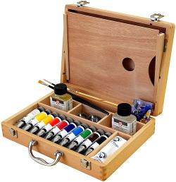 Caja de madera 10 tubos de oleo van gogh 40ml 32x24x7cm talens