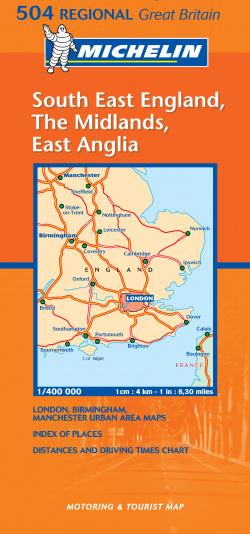 Mapa Regional South East England, The Midlands, East Anglia