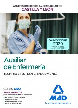 AUXILIAR ENFERMERIA CASTILLA Y LEON. TEMARIO Y TEST COMUNES (ED.