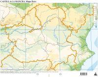 Paq/50 mapas castilla-mancha fisico mudos